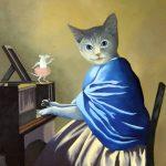 Surrealistiska landskap, kattporträtt och naturskön idyll – Följ med in i Brita Holvid Fastlunds konstnärliga fantasivärld