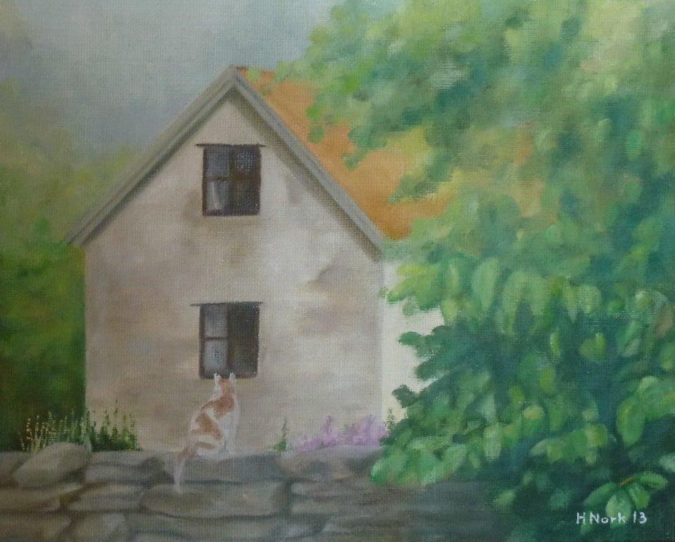 """""""Katt på stenmur"""", oljemålning."""
