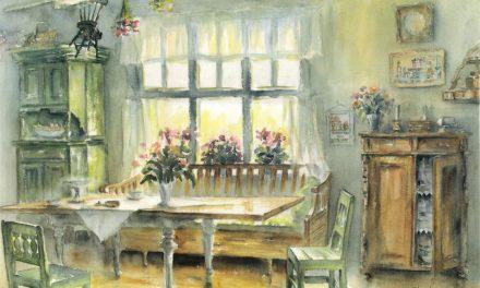 Gamla interiörer ständigt aktuella i hennes akvareller