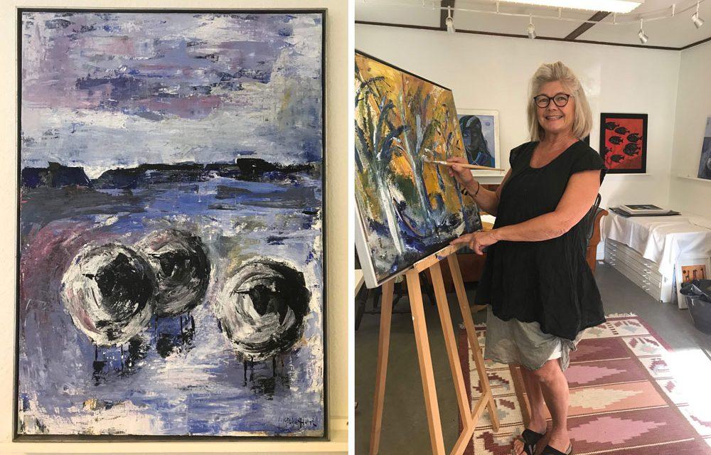 Ateljémålaren Ritha Holst tycker om att engagera sig socialt med sin konst och leker mycket med kontraster.